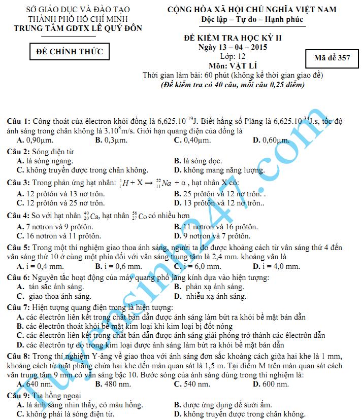 Đề thi học kì 2 lớp 12 năm 2015 môn Lý - GDTX Lê Quý Đôn