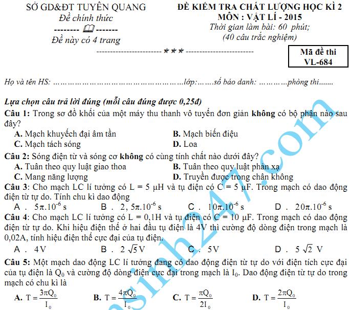 Đề thi học kì 2 lớp 12 môn Lý năm 2015 - Sở GD Tuyên Quang