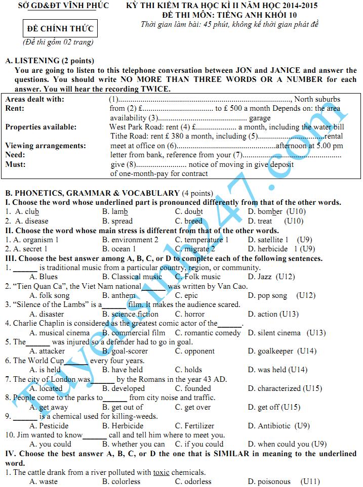 Đề thi học kì 2 lớp 10 năm 2015 môn Tiếng Anh - Sở GD Vĩnh Phúc
