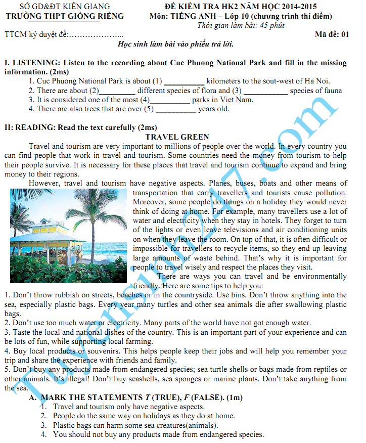 Đề thi học kì 2 lớp 10 môn Tiếng Anh năm 2015 - THPT Giồng Riềng