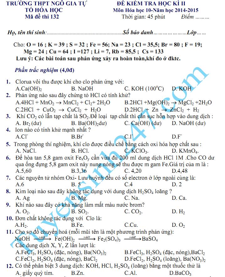 Đề thi học kì 2 lớp 10 môn Hóa năm 2015 - THPT Ngô Gia Tự