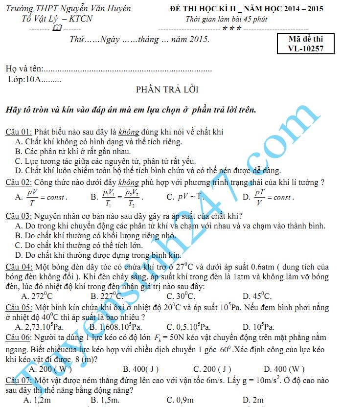 Đề thi học kì 2 lớp 10 2015 môn Lý - THPT Nguyễn Văn Huyên