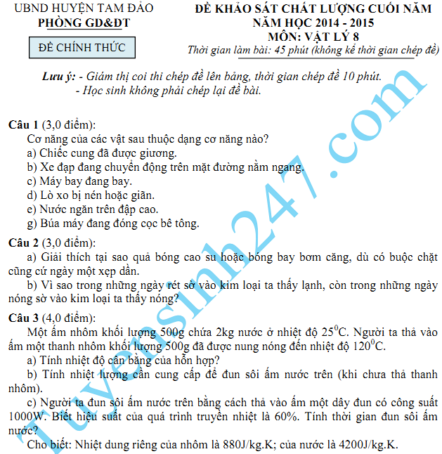 Đề thi học kì 2 lớp 8 2015 môn Lý - Tam Đảo