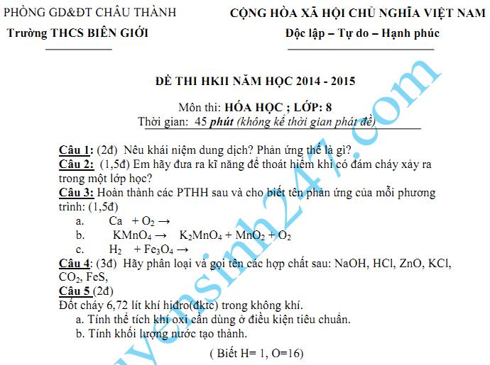 Đề thi học kì 2 lớp 8 năm 2015 môn Hóa - THCS Biên Giới
