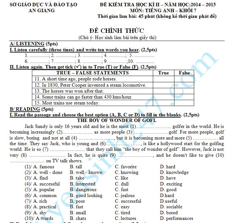 Đề thi học kì 2 lớp 7 môn Anh - Sở GD An Giang 2015