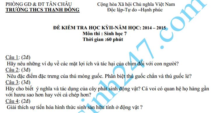 Đề thi học kì 2 lớp 7 2015 môn Sinh  - THCS Thạnh Đông