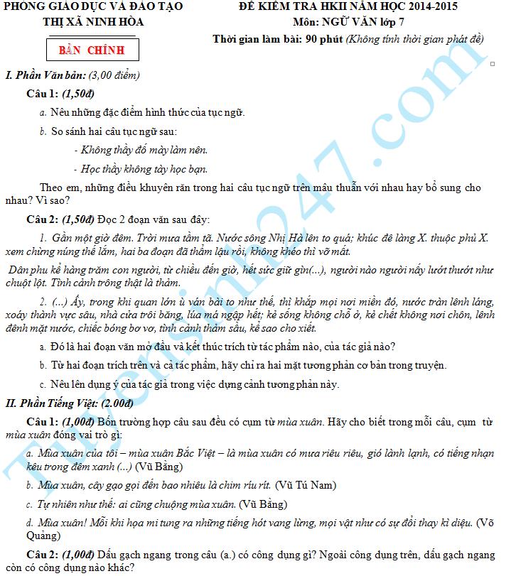 Đề thi học kì 2 lớp 7 môn Văn - Ninh Hòa 2015