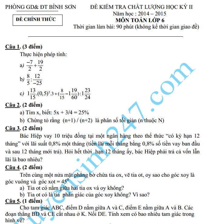 Đề thi học kì 2 lớp 6 môn Toán năm 2015 – Bình Sơn