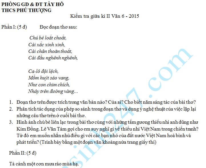 Đề thi giữa học kì 2 lớp 6 môn Văn – THCS Phú Thượng