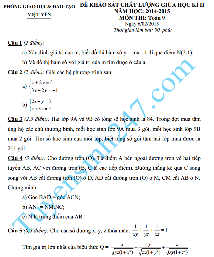 Đề thi giữa học kì 2 lớp 9 môn Toán năm 2016 – Việt Yên