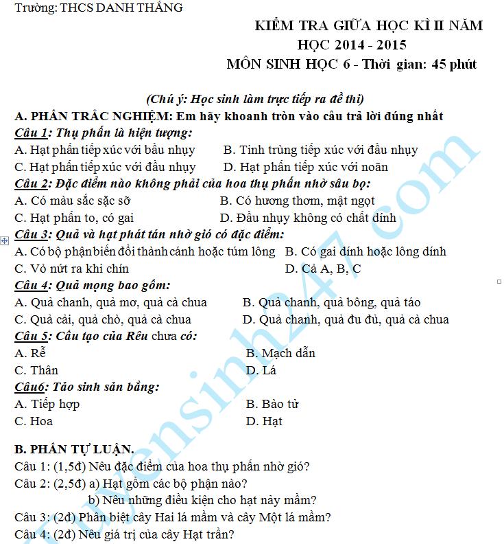 Đề thi giữa học kì 2 lớp 6 môn Sinh năm 2015 – THCS Danh Thắng