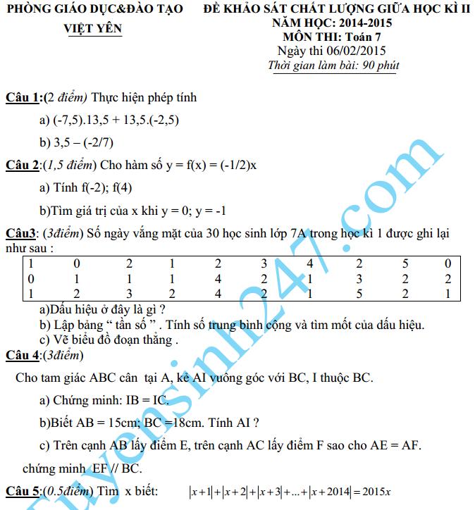 Đề thi giữa học kì 2 lớp 7 môn Toán năm 2015 – Việt Yên