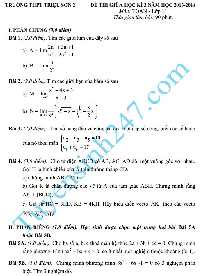 Đề thi giữa học kì 2 lớp 11 môn Toán năm 2015 – THPT Triệu Sơn