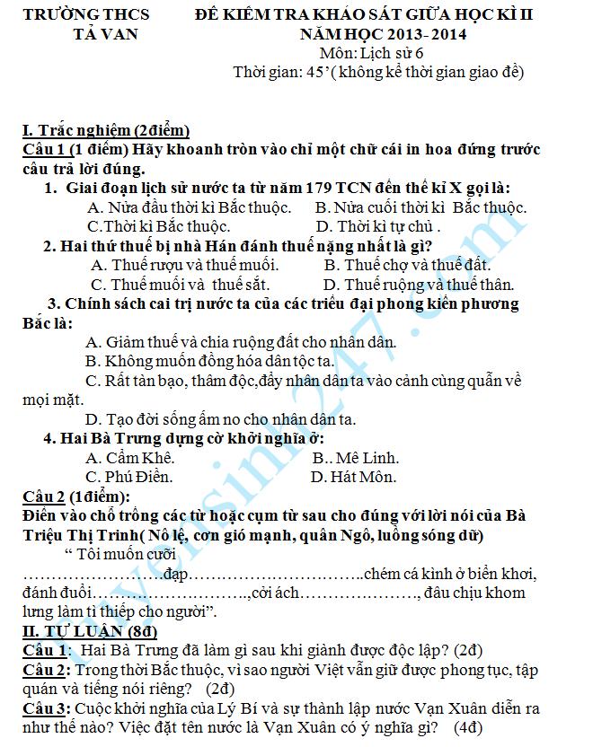 Đề thi giữa học kì 2 lớp 6 môn Sử – THCS Tả Van 2014