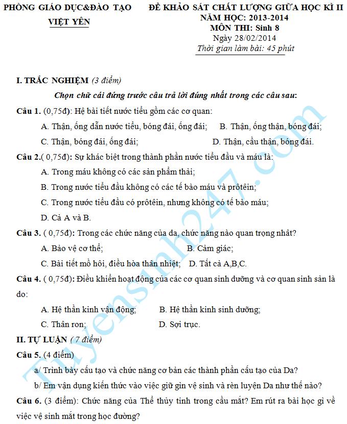 Đề thi giữa học kì 2 lớp 8 năm 2015 môn Sinh – Việt Yên