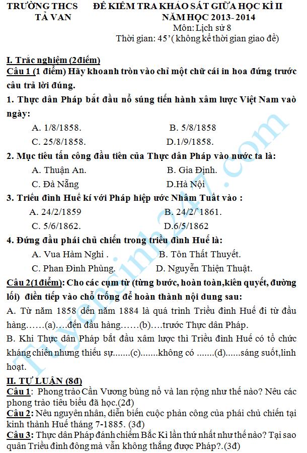 Đề thi giữa học kì 2 lớp 8 môn Sử năm 2014 – THCS Tả Van