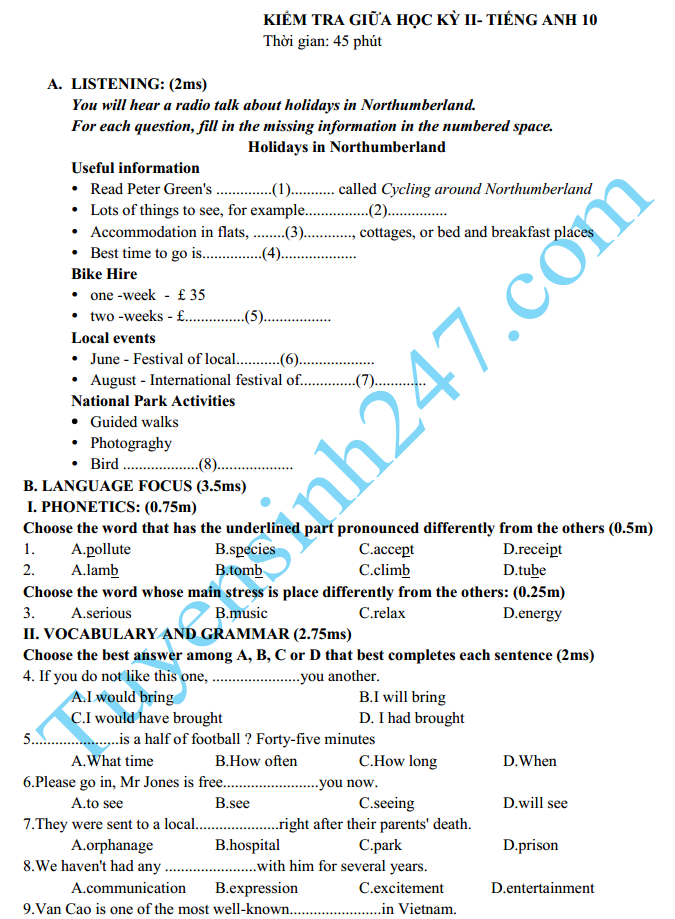 Đề thi giữa học kì 2 lớp 10 môn Anh năm 2015 – Đề số 1