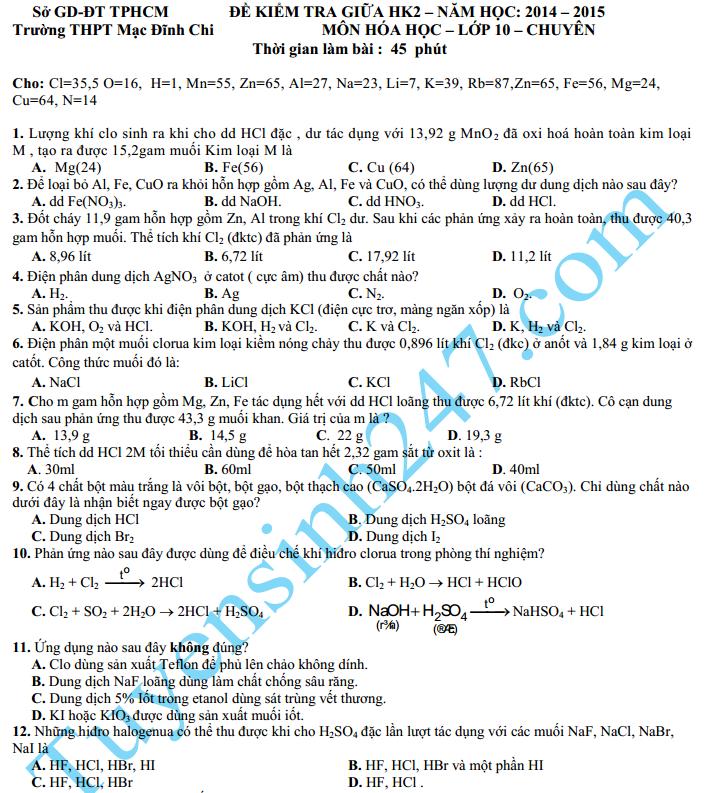 Đề thi giữa học kì 2 lớp 10 môn Hóa năm 2015 – THPT Mạc Đĩnh Chi
