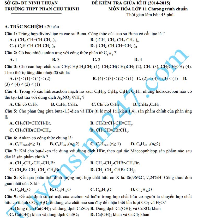 Đề thi giữa học kì 2 lớp 11 môn Hóa năm 2015 – THPT Phan Châu Trinh