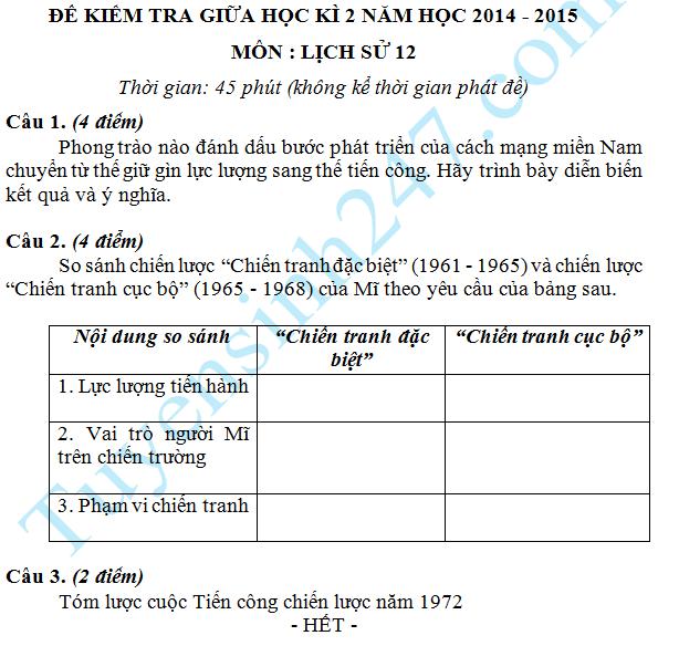 Đề thi giữa học kì 2 lớp 12 năm 2015 môn Sử – Đề số 1