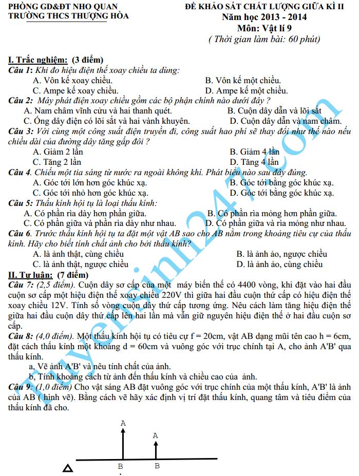Đề thi giữa học kì 2 lớp 9 môn Lý – THCS Thượng Hòa 2015