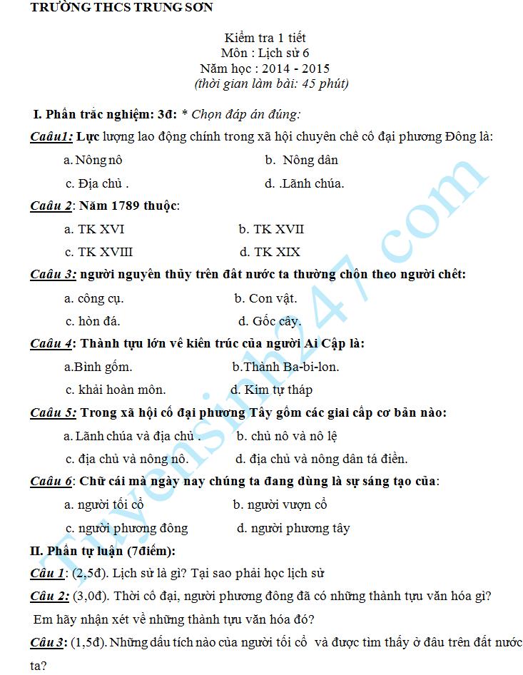 Đề kiểm tra 1 tiết HK2 môn Sử lớp 6 năm 2015 – THCS Trung Sơn