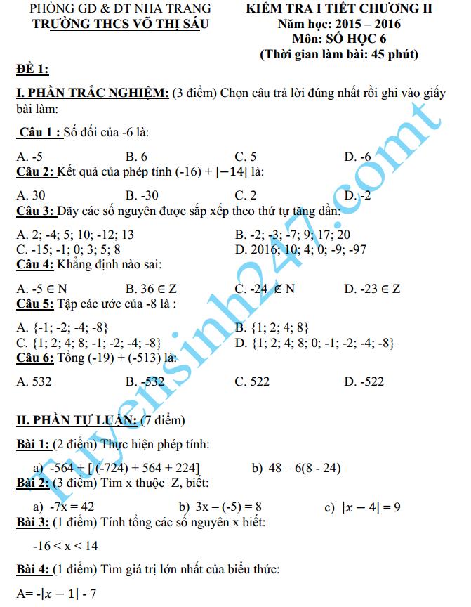 Đề kiểm tra 1 tiết Chương 2 Đại số lớp 6 năm 2016 - THCS Võ Thị Sáu