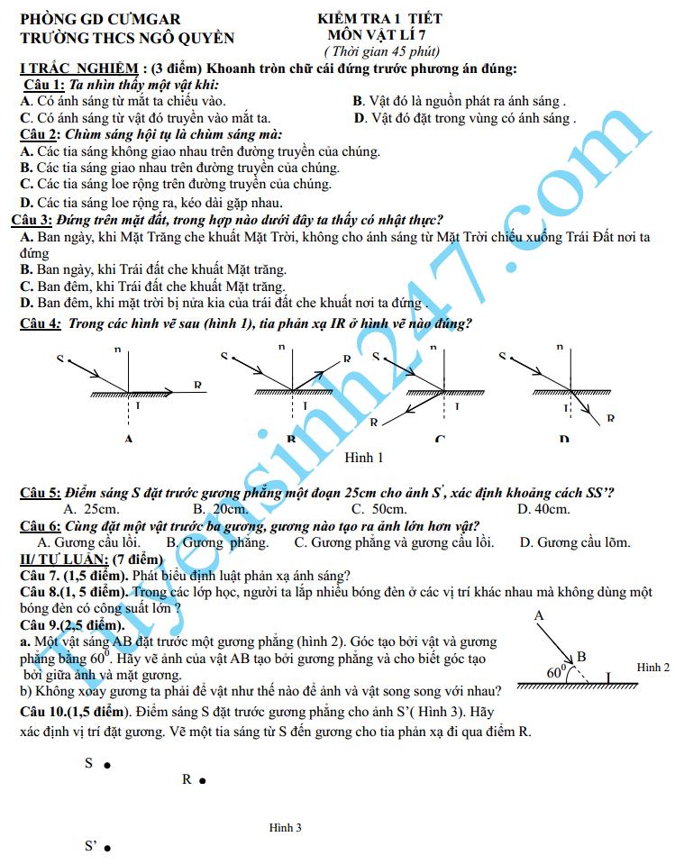 Đề kiểm tra 1 tiết môn Lý HK2  lớp 7 năm 2015 – THCS Ngô Quyền