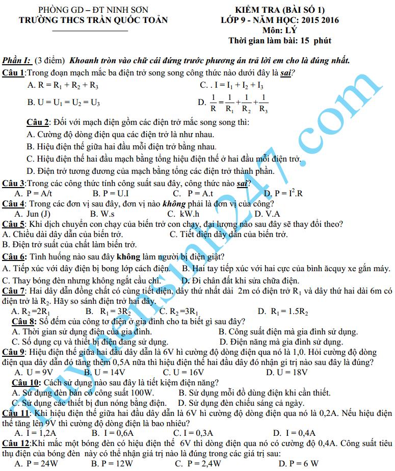 Đề kiểm tra 1 tiết HK2 môn Lý lớp 9 năm 2016 – THCS Trần Quốc Toản