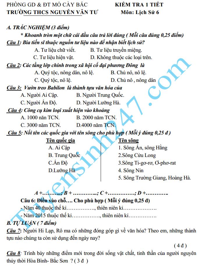 Đề kiểm tra 1 tiết HK2 lớp 6 môn Sử năm 2015 – THCS Nguyễn Văn Tư