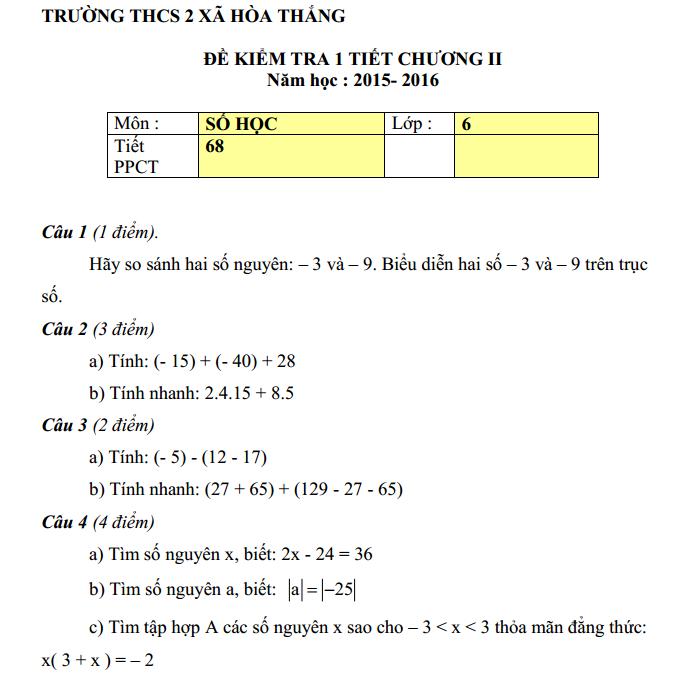 Đề kiểm tra 1 tiết Chương 2 Đại số lớp 6  – THCS 2 Xã Hòa Thắng năm 2015