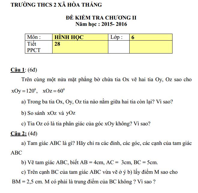 Đề kiểm tra 1 tiết Chương 2 Hình học lớp 6 – THCS 2 Xã Hòa Thắng năm 2015