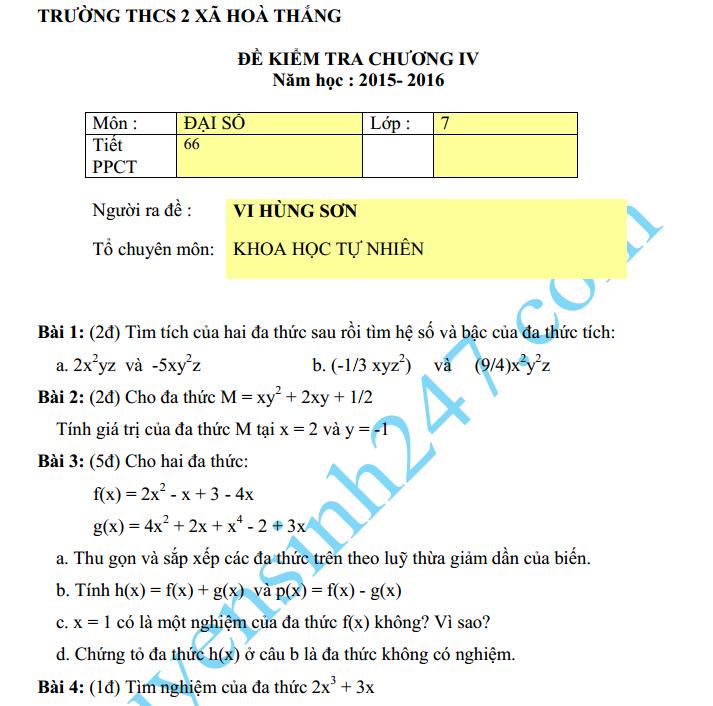 Đề kiểm tra 1 tiết lớp 7 môn Toán Đại số Chương 4 – THCS Hòa Thắng 2015
