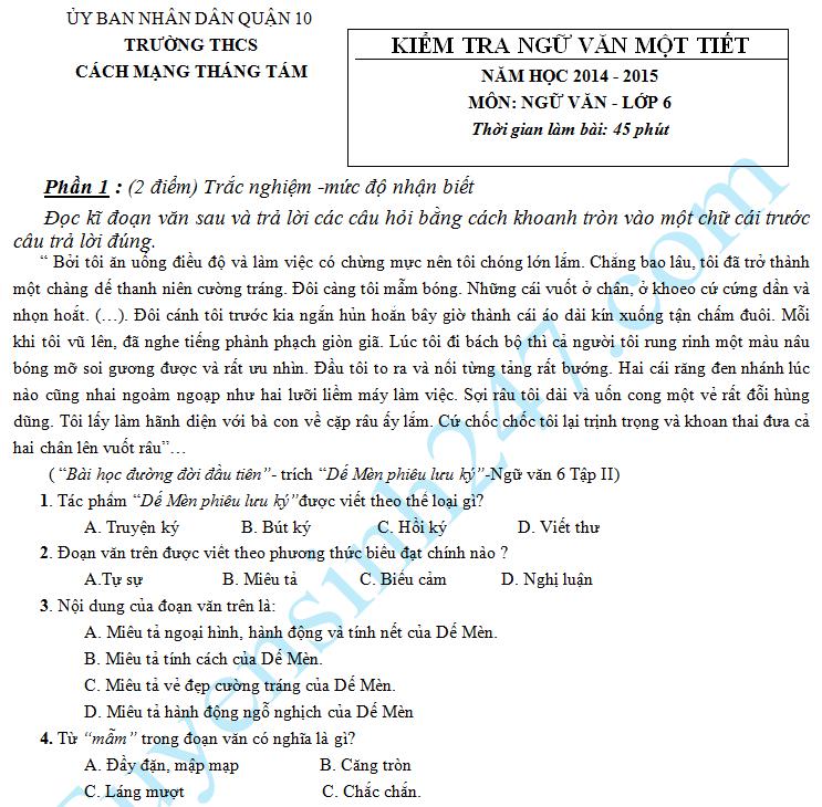 Đề kiểm tra 1 tiết HK2 môn Văn năm 2015 lớp 6 – THCS Cách Mạng Tháng Tám