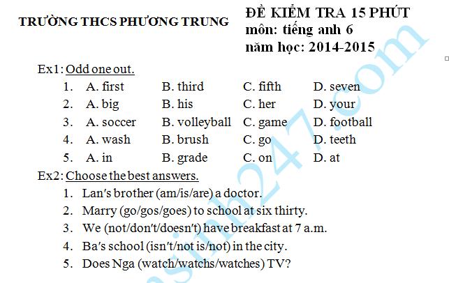 Đề kiểm tra 15 phút môn Anh HK2 lớp 6 năm 2015 – THCS Phương Trung