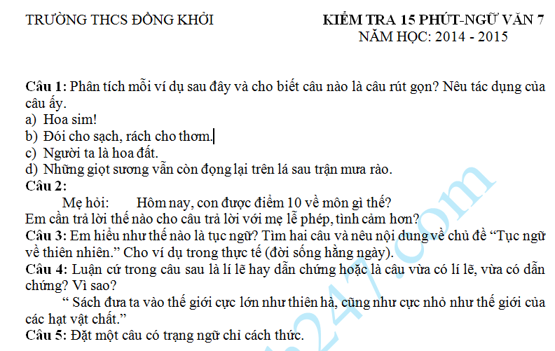 Đề kiểm tra 15 phút HK2 môn Văn lớp 7 năm 2015 – THCS Đồng Khởi