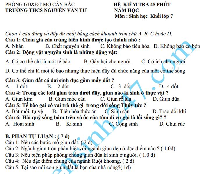 Đề kiểm tra 1 tiết HK2 lớp 7 môn Sinh năm 2015 – THCS Nguyễn Văn Tư