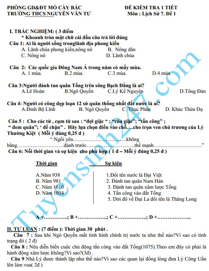 Đề kiểm tra 1 tiết HK2 môn Sử lớp 7 năm 2015 – THCS Nguyễn Văn Tư