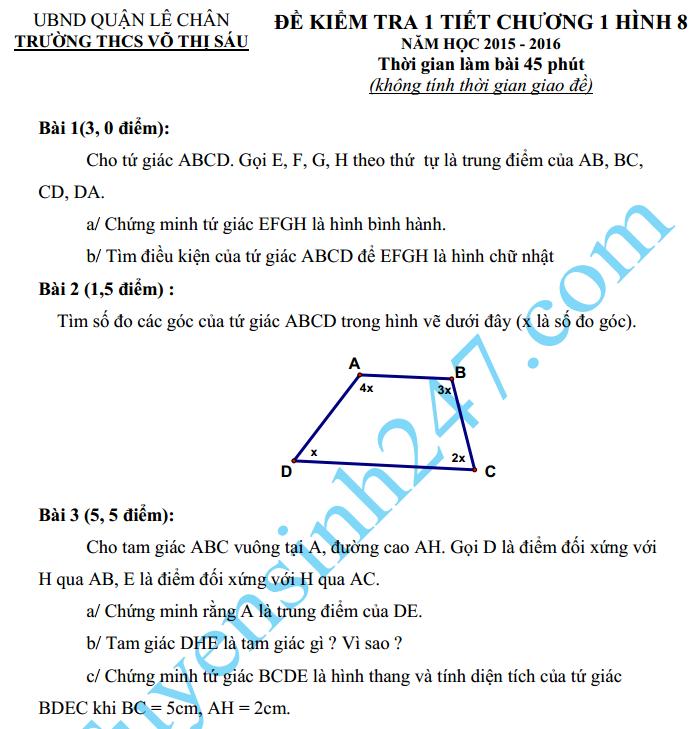 Đề kiểm tra 1 tiết HK2 môn Toán Hình học 8 – THCS Võ Thị Sáu 2016