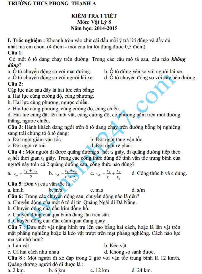 Đề kiểm tra 1 tiết HK2 môn Lý lớp 8 – THCS Phong Thạnh A lớp 8