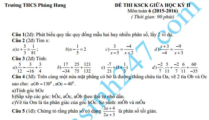 Đề thi giữa học kì 2 lớp 6 môn Toán năm 2016 – THCS Phùng Hưng