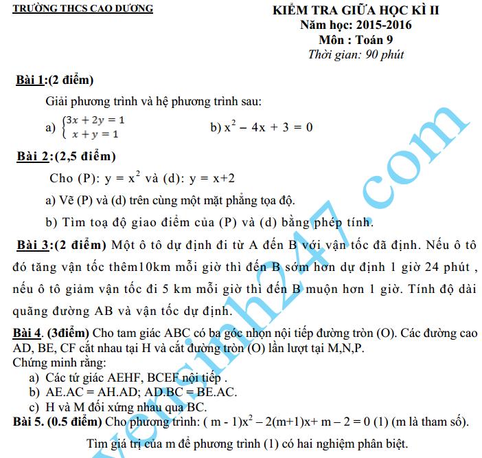 Đề thi giữa học kì 2 môn Toán lớp 9 – THCS Cao Dương 2016