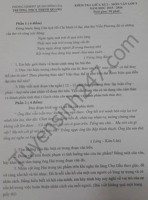 Đề thi giữa học kì 2 năm 2016 lớp 9 môn Văn – THCS Thịnh Quang