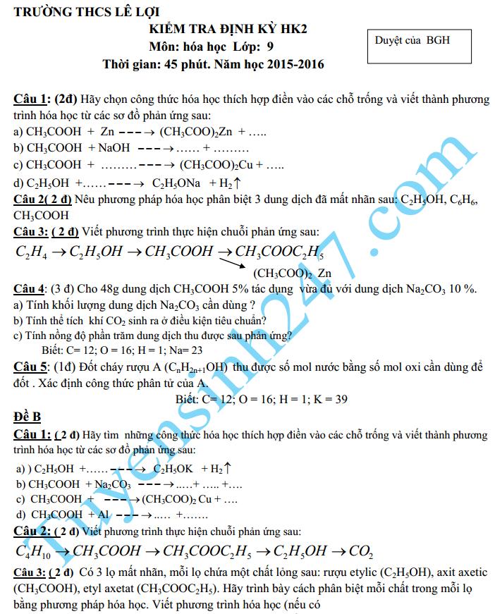 Đề kiểm tra 1 tiết HK2 môn Hóa 9 – THCS Lê Lợi 2016