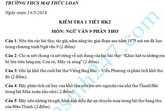 Đề kiểm tra 1 tiết HK2 2016 môn Văn lớp 9 Phần thơ – THCS Mai Thúc Loan