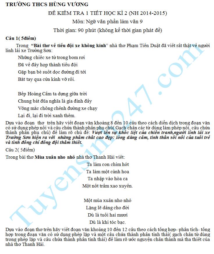 Đề kiểm tra 1 tiết HK2 2015 môn Văn 9 Tập làm văn  – THCS Hùng Vương