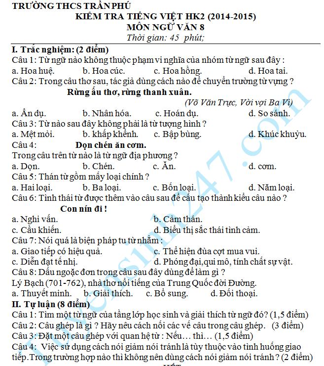 Đề kiểm tra 1 tiết môn Văn lớp 8 – THCS Trần Phú 2015