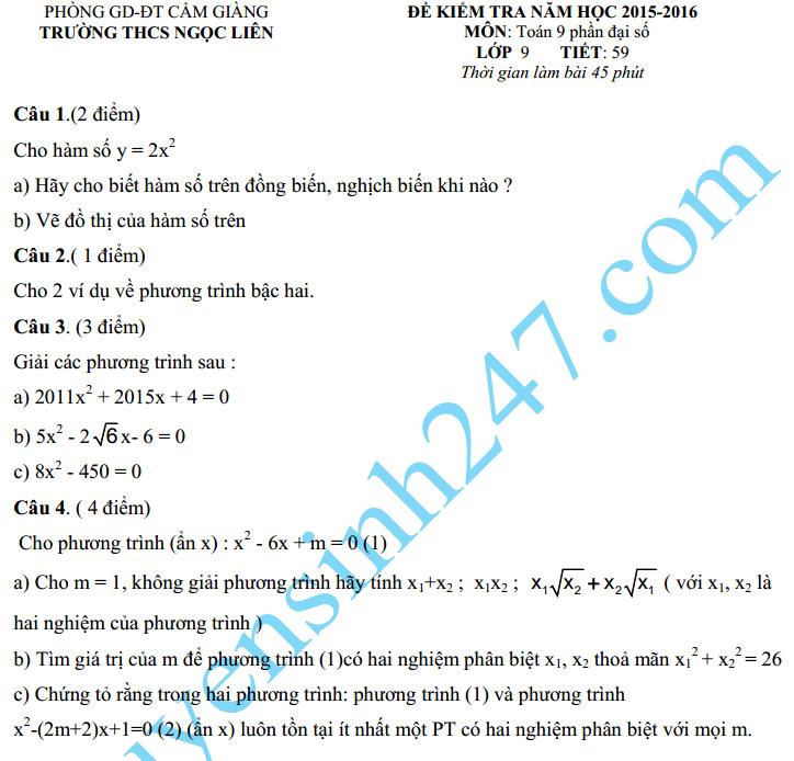 Đề kiểm tra 1 tiết HK2 môn Toán Đại số lớp 9 – THCS Ngọc Liên 2016