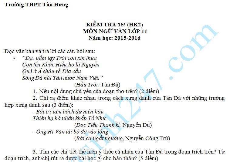 Đề kiểm tra 15 phút môn Văn 11 năm 2016 – THPT Tân Hưng