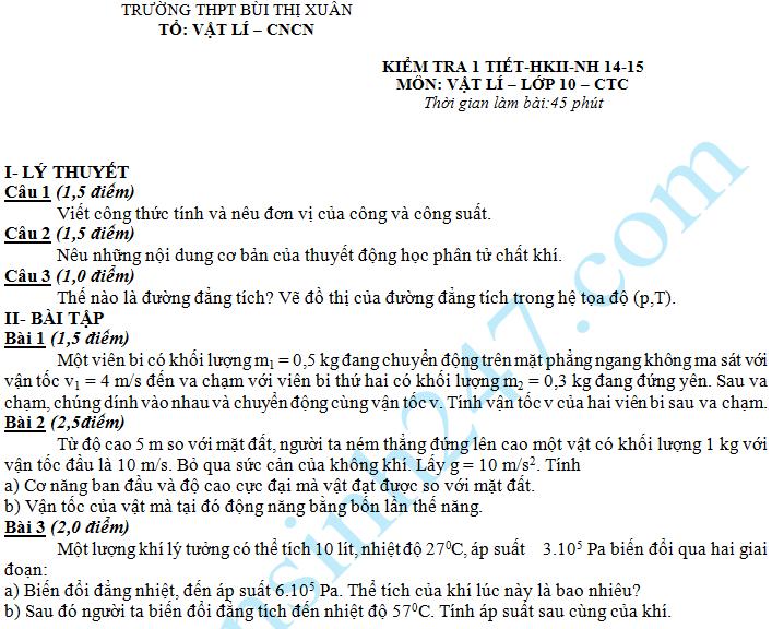 Đề kiểm tra 1 tiết HK2 môn Lý 10 – THPT Bùi Thị Xuân 2015